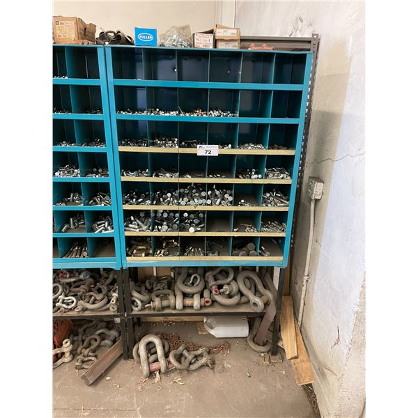 BLUE METAL 42 SECTION HARDWARE BIN WITH HEAVY DUTY HARDWARE CONTENTS & SCREW PIN ANCHOR SHACKLES