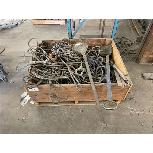 CRATE OF ASSORTED HEAVY DUTY CABLE SWINGS & CHAINS