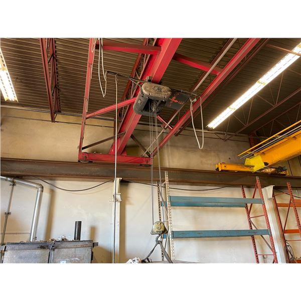 ** COLUMBUS MCKINNON 3 TON ELECTRIC MOBILE OVERHEAD SHOP CRANE WITH 43'' RED CROSS BEAM WITH