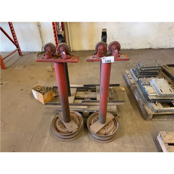 2 RED METAL WITH 2 GREY METAL INDUSTRIAL PIPE STANDS
