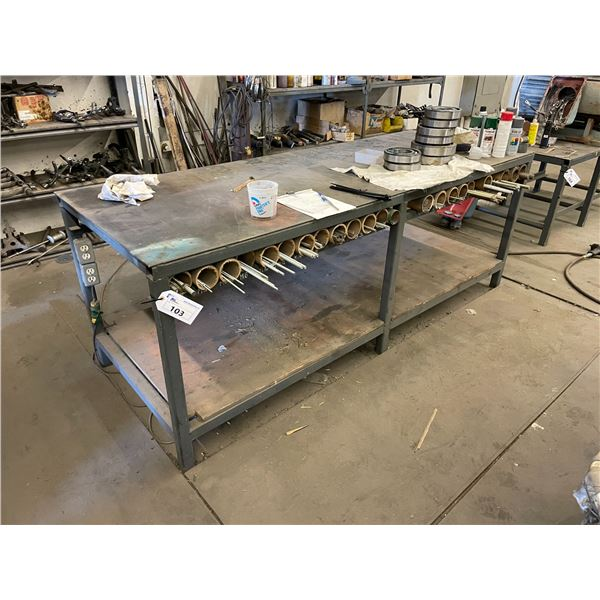 METAL HEAVY DUTY INDUSTRIAL WORKBENCH 3'L X 8'W X 3'H CONTENTS NOT INCLUDED