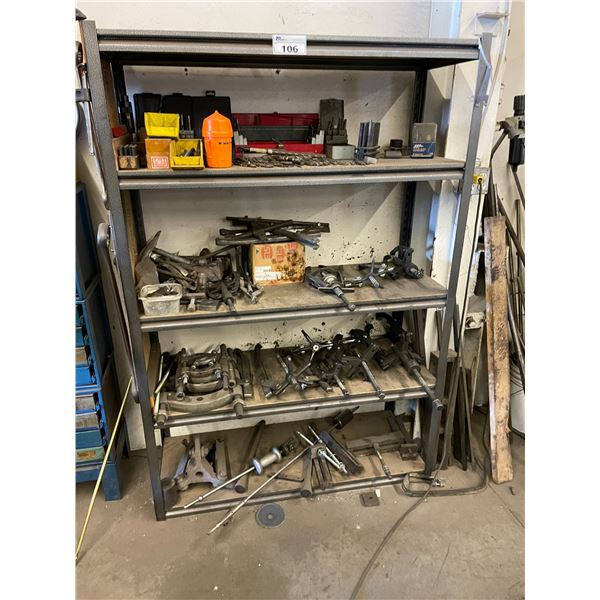 METAL AND WOOD 5 TIER SHOP SHELF WITH DRILL BITS & ASSORTED HEAVY DUTY PULLERS