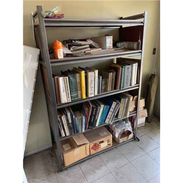 CONTENTS OF LOWER FRONT ENTRANCE ROOMS INCLUDING 4 METAL/WOOD PARTS SHELFS, 2 METAL 4 DRAWER