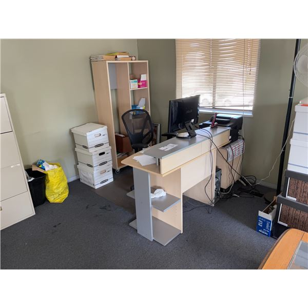 CONTENTS OF UPPER OFFICE INCLUDING 2 4 DRAWER LATERAL FILE CABINETS, COUCH, CLIENT CHAIRS, OFFICE