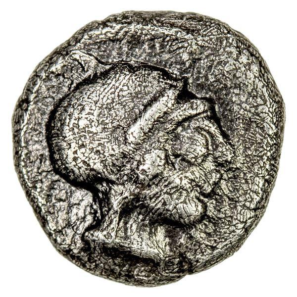ATTICA: Athens, AR obol (0.43g), 485-480 BC. VF
