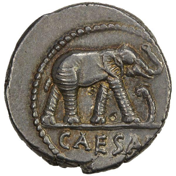 ROMAN IMPERATORIAL PERIOD: Julius Caesar, as dictator, 49-44 BC, AR denarius (4.01g), travelling mil