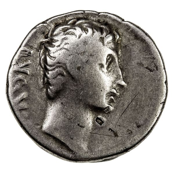 ROMAN EMPIRE: Augustus, 27 BC-14 AD, AR denarius (3.52g), north Peloponnesian mint, 21 BC. VG-F