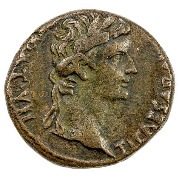 ROMAN EMPIRE: Tiberius, caesar, 4-14 AD, AE dupondius (10.39g), Lugdunum, 12-14 AD. VF