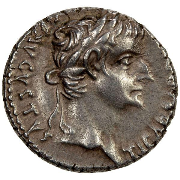 ROMAN EMPIRE: Tiberius, 14-37 AD, AR denarius (3.66g), Lugdunum, 36-37 AD. EF