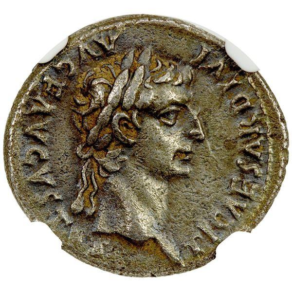 ROMAN EMPIRE: Tiberius, 14-37 AD, AR denarius (3.79g), Lugdunum, 36-37 AD. NGC EF