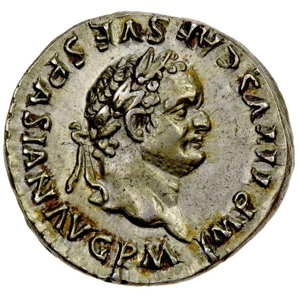 ROMAN EMPIRE: Titus, 79-81 AD, AR denarius (3.44g), Rome, 80 AD. EF