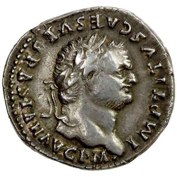 ROMAN EMPIRE: Titus, 79-81 AD, AR denarius (3.42g), Rome, 79 AD. EF