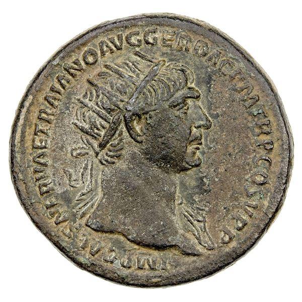 ROMAN EMPIRE: Trajan, 98-117 AD, AE dupondius (11.77g), Rome, 109-110 AD. VF
