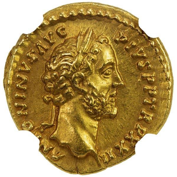 ROMAN EMPIRE: Antoninus Pius, 138-161 AD, AV aureus (7.38g), Rome, 158-159 AD. NGC AU