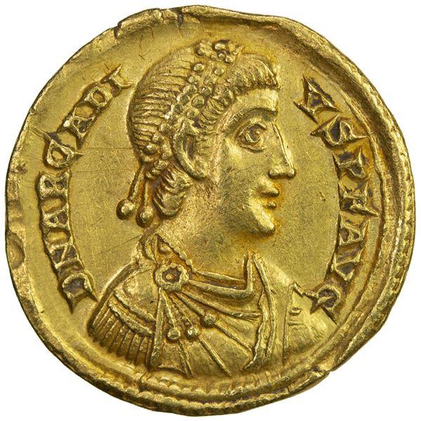 ROMAN EMPIRE: Arcadius, 383-408 AD, AV solidus (4.41g), Mediolanum (Milan). EF