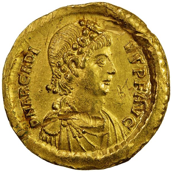 ROMAN EMPIRE: Arcadius, 383-408 AD, AV solidus (4.49g), Constantinople, 383-388 AD. VF-EF