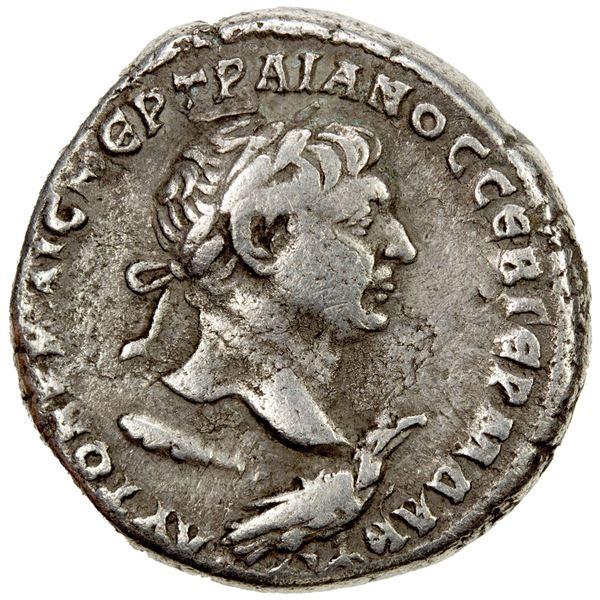 ROMAN PROVINCIAL: SYRIA: Trajan, 98-117 AD, AR tetradrachm (13.74g), Antioch, 110-112 AD. VF