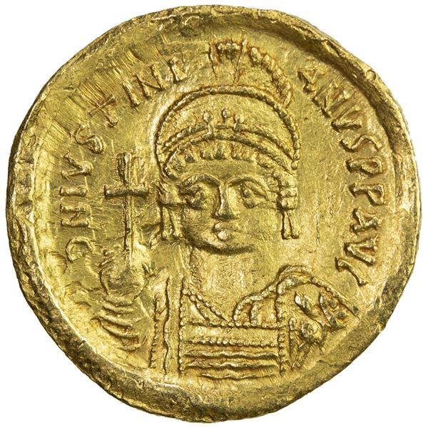 BYZANTINE EMPIRE: Justinian I, 527-565, AV solidus (4.29g), Constantinople. VF-EF