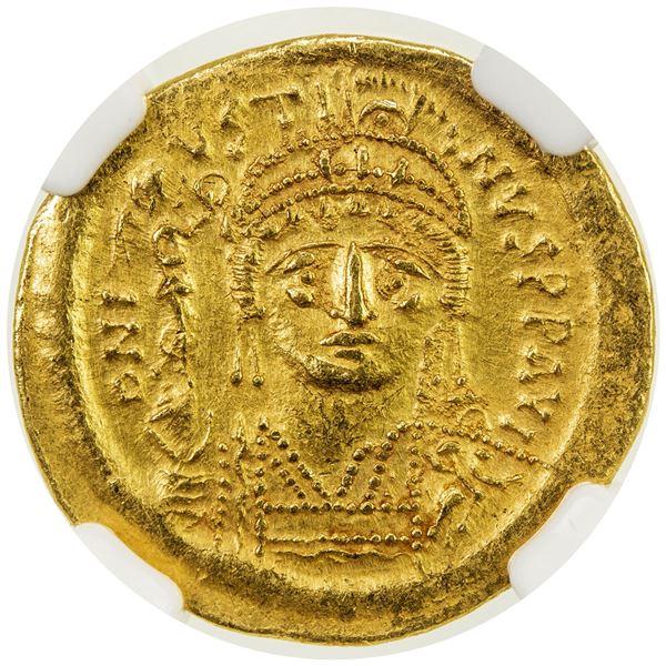 BYZANTINE EMPIRE: Justin II, 565-578, AV solidus (4.45g), Constantinople. NGC AU