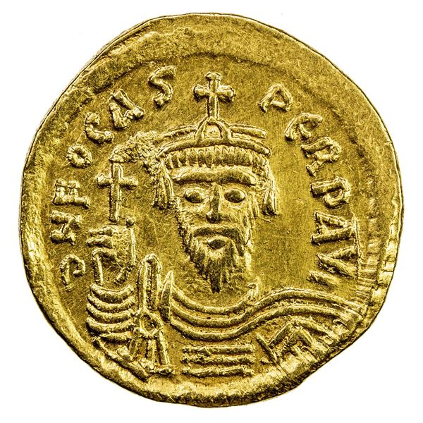 BYZANTINE EMPIRE: Phocas, 602-610, AV solidus (4.34g), Constantinople. VF-EF