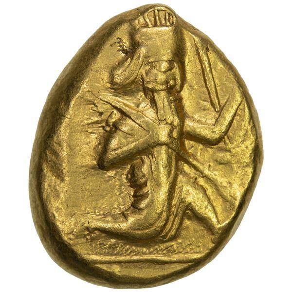 ACHAIMENIDIAN EMPIRE: temp. Xerxes I to Darios II, AV daric (8.29g), Sardes, ca. 485-420 BC. VF