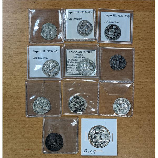 SASANIAN KINGDOM: Shahpur III, 383-388, LOT of 11 silver drachms