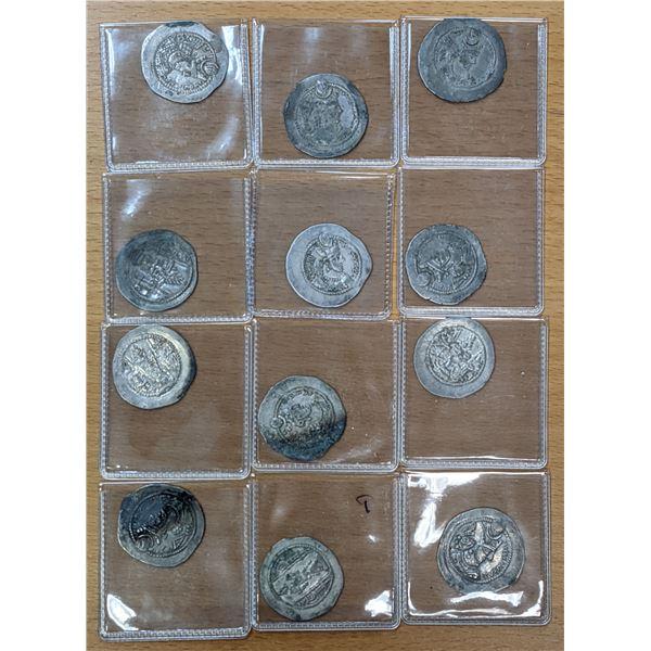 SASANIAN KINGDOM: Varhran V, 420-438, LOT of 12 silver drachms