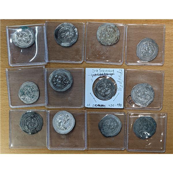 SASANIAN KINGDOM: Yazdigerd II, 438-457, LOT of 12 silver drachms