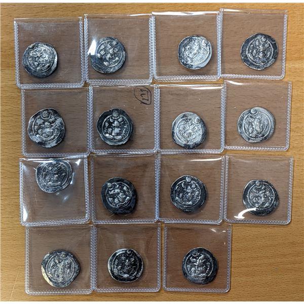 SASANIAN KINGDOM: Peroz, 457-484, LOT of 15 silver drachms