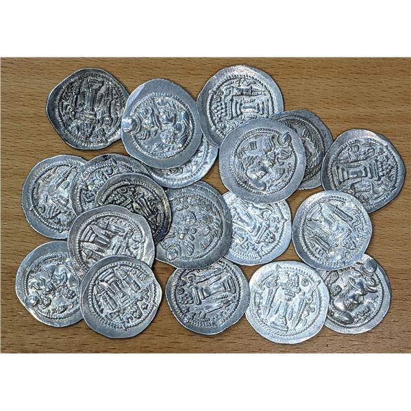 SASANIAN KINGDOM: Peroz, 457-484, LOT of 20 silver drachms