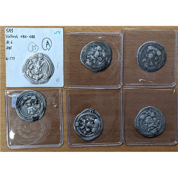 SASANIAN KINGDOM: Valkash, 484-488, LOT of 6 silver drachms