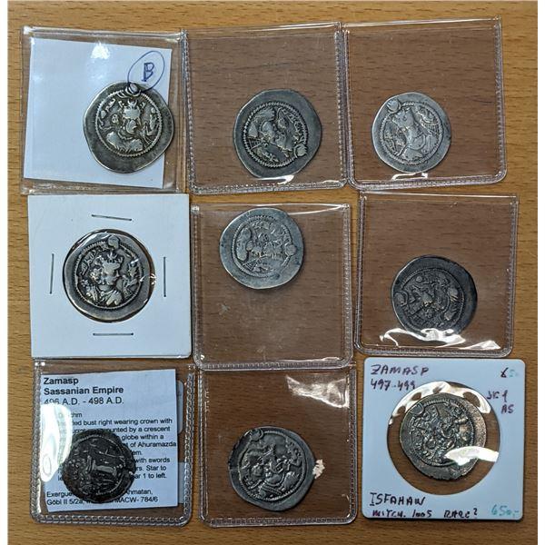SASANIAN KINGDOM: Zamasp, 497-499, LOT of 9 silver drachms