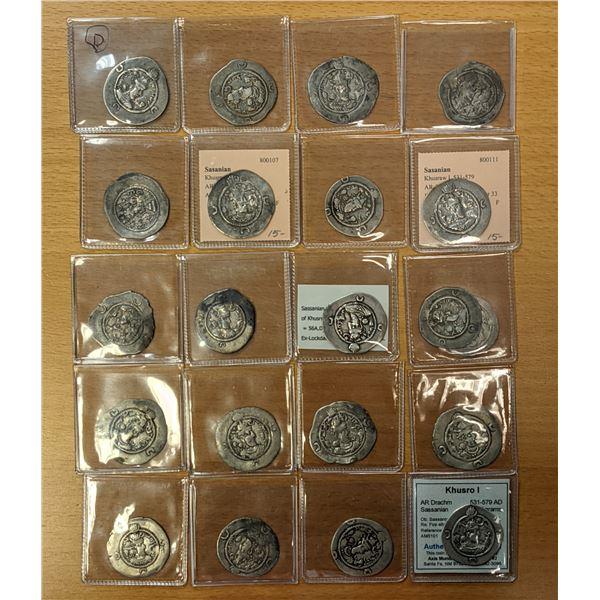 SASANIAN KINGDOM: Khusro I, 531-579, LOT of 21 silver drachms