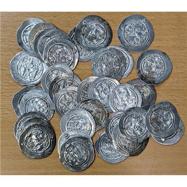 SASANIAN KINGDOM: Hormizd IV, 579-590, LOT of 34 silver drachms
