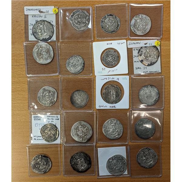 SASANIAN KINGDOM: Khusro II, 591-628, LOT of 20 silver drachms