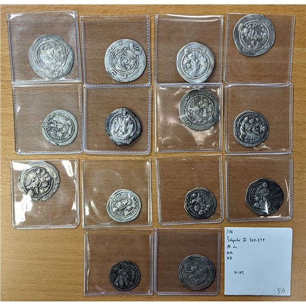 SASANIAN KINGDOM: LOT of 15 silver drachms of 15 different kings