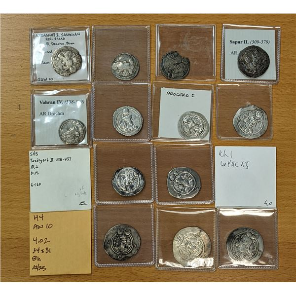 SASANIAN KINGDOM: LOT of 16 silver drachms of 16 different kings