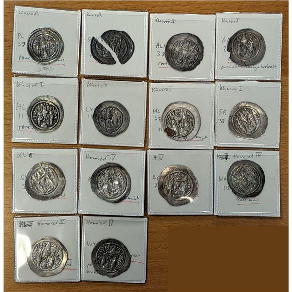 SASANIAN KINGDOM: LOT of 14 scarcer silver drachms