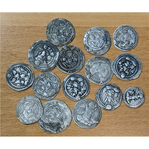 SASANIAN KINGDOM: LOT of 15 silver drachms