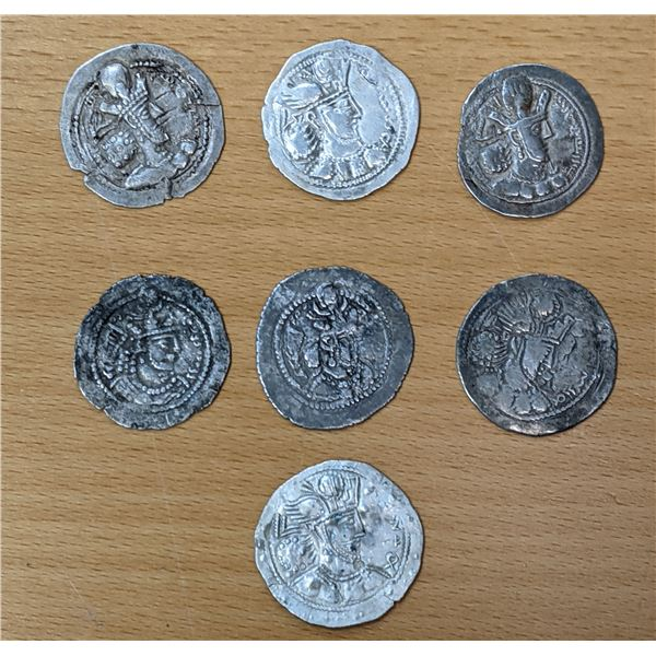 SASANIAN KINGDOM: LOT of 7 eastern style drachms