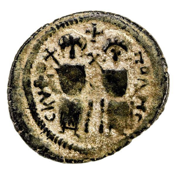 ARAB-BYZANTINE: AE follis (6.77g), Baysan (Skythopolis), ND. VF