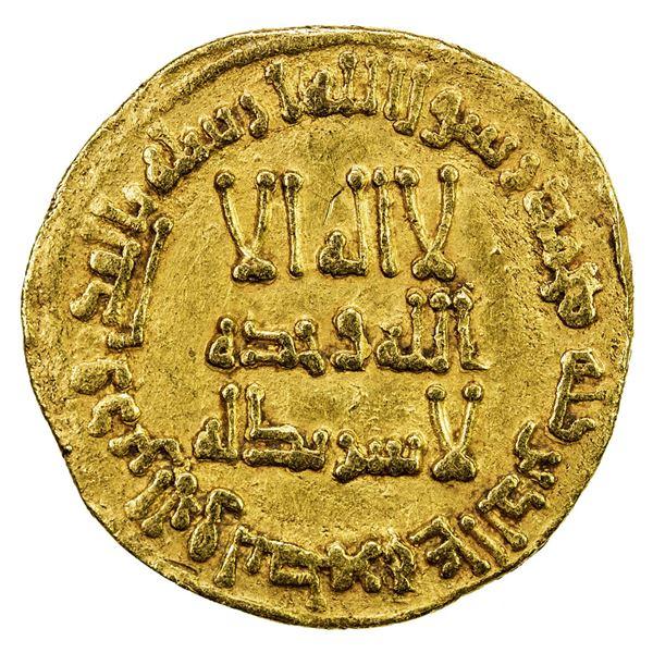 UMAYYAD: Hisham, 724-743, AV dinar (4.24g), NM (Dimashq), AH108. VF