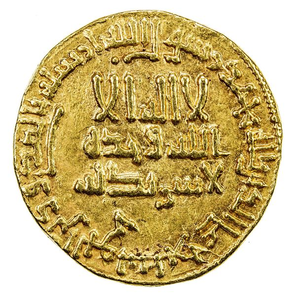 ABBASID: al-Mahdi, 775-785, AV dinar (4.26g), NM, AH160. VF-EF