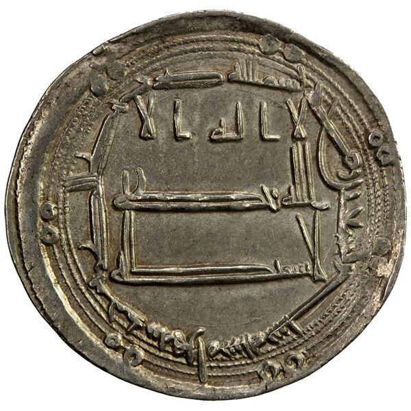 ABBASID: al-Ma'mun, 810-833, AR dirham (2.89g), Herat, AH196. EF