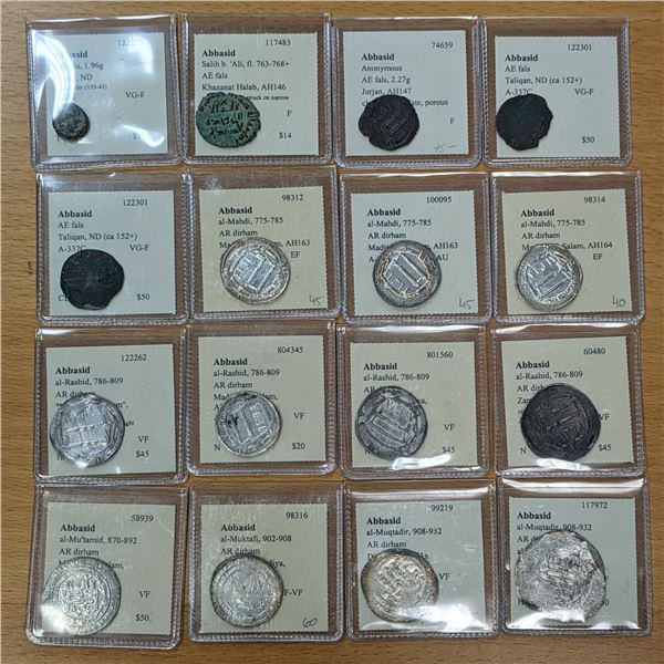 ABBASID: LOT of 16 coins (11 silver)