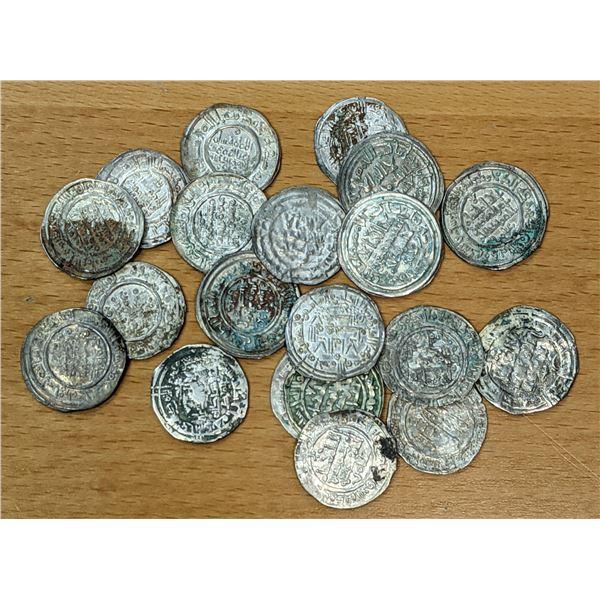 UMAYYAD OF SPAIN: LOT of 20 silver dirhams of Hisham II