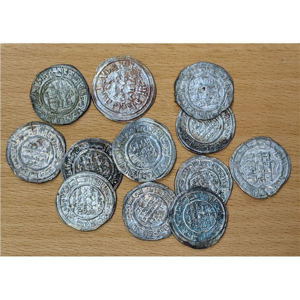 UMAYYAD OF SPAIN: LOT of 12 silver dirhams of Hisham II