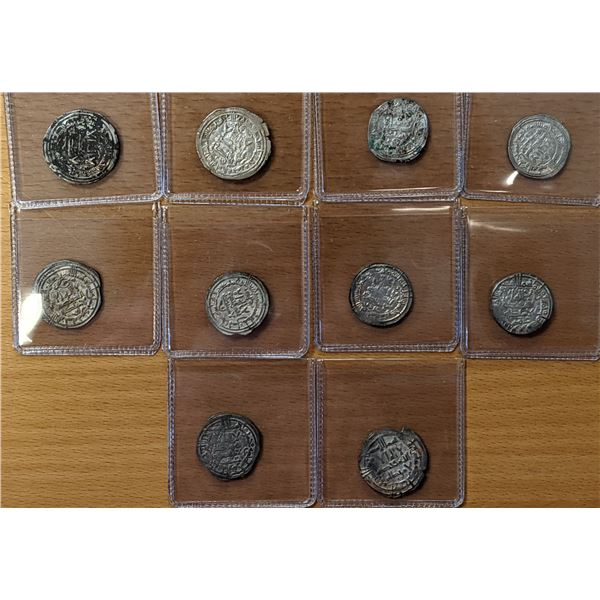 UMAYYAD OF SPAIN: LOT of 10 silver dirhams of al-Hakim II