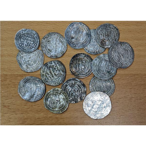 UMAYYAD OF SPAIN: LOT of 15 silver dirhams of al-Hakim II