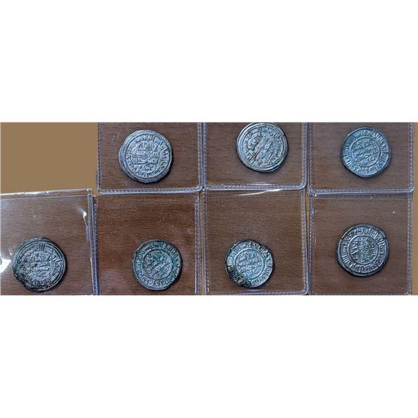UMAYYAD OF SPAIN: LOT of 7 silver dirhams of Hisham II